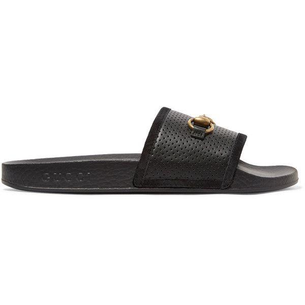 Pursuit Horsebit-detailed Perforated Rubber Slides - Black Gucci odThbP