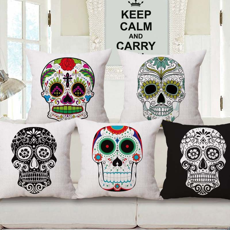 Halloween Theme Pillow Cover Personalized Creatrive Skull