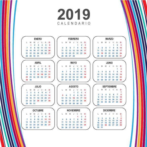 Calendario 2019 Moderno.Calendario Moderno Del 2019 En Espanol Estaciones