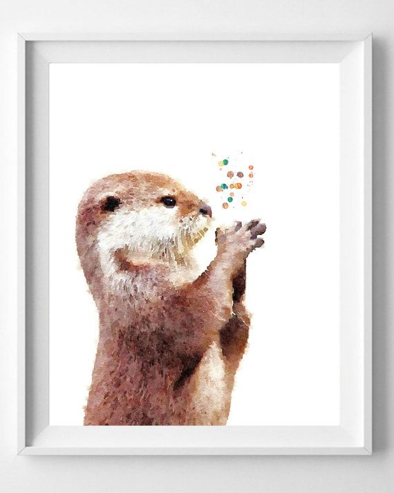 Otter print,watercolor painting,Nursery art,Wall art,home decor,Pic ...