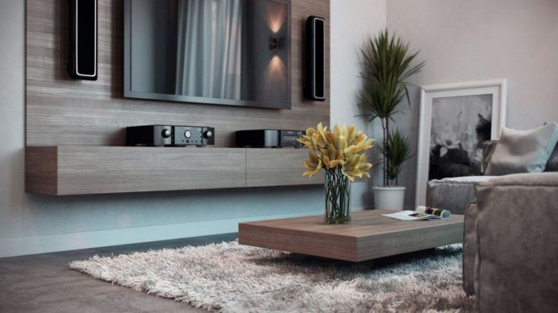 Apartments, Wonderful Living Room Decorating Ideas With Sleek Wooden Coffee  Table And Sophisticated TV Wall
