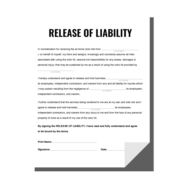 Color Kits Release Of Liability Waiver Behindthechair Com Liability Waiver Color Kit Liability