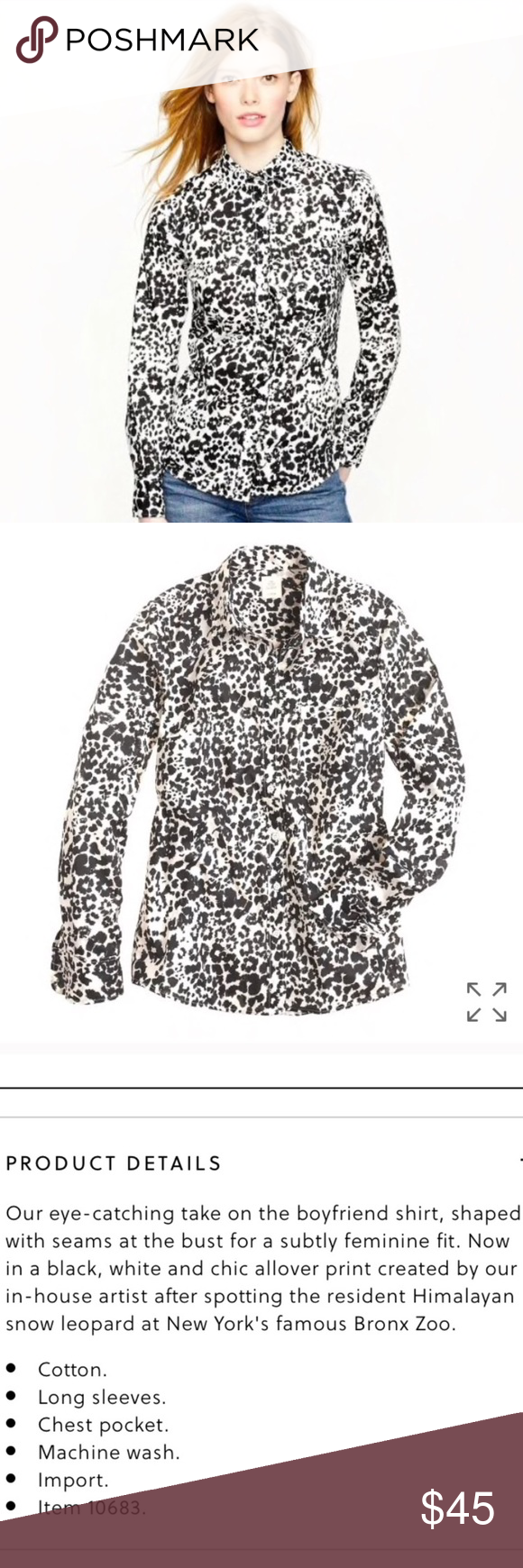 f7b1c609991 J. Crew boy shirt in snow cat leopard print J. Crew button down shirt - boy  fit - in snow cat / leopard / cheetah print. Excellent condition, no flaws  to ...