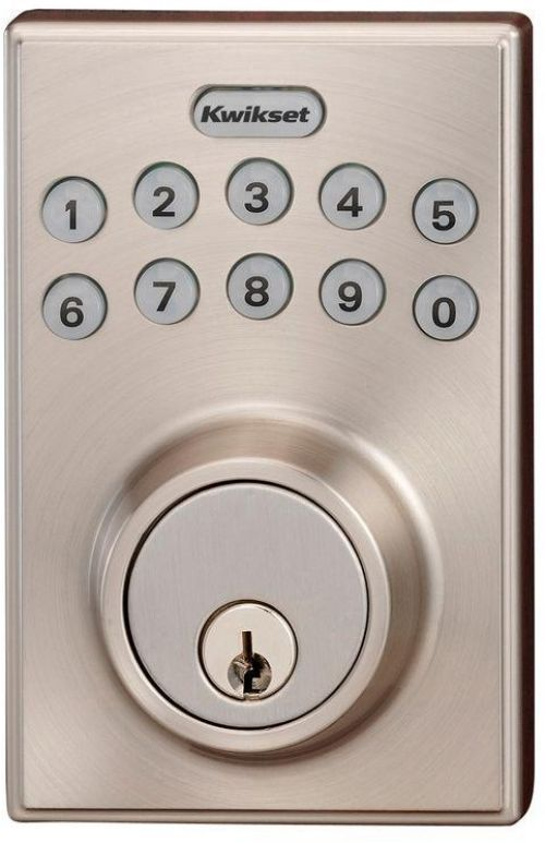 Kwikset 264 Series Contemporary Single Cylinder Satin Nickel Electronic Deadbolt Kwikset Electronic Deadbolt Deadbolt Kwikset