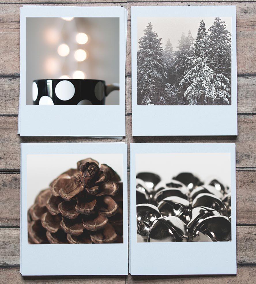 White Polaroid Holiday Cards, Set Of 8