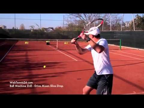 Tennis Drill Using A Ball Machine Ground Strokes Touch Feel And Control Every Intermediate And Advanced Play Tennis Drills Tennis Techniques Tennis Lessons