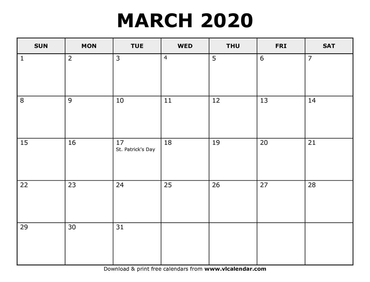 Printable March Calendar In
