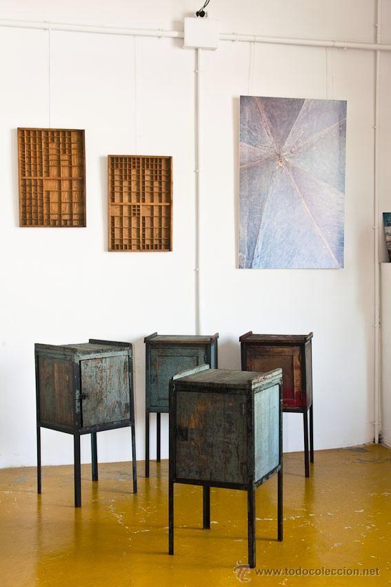 Mesita industrial de taller Madera y hierro Restauradas muebles