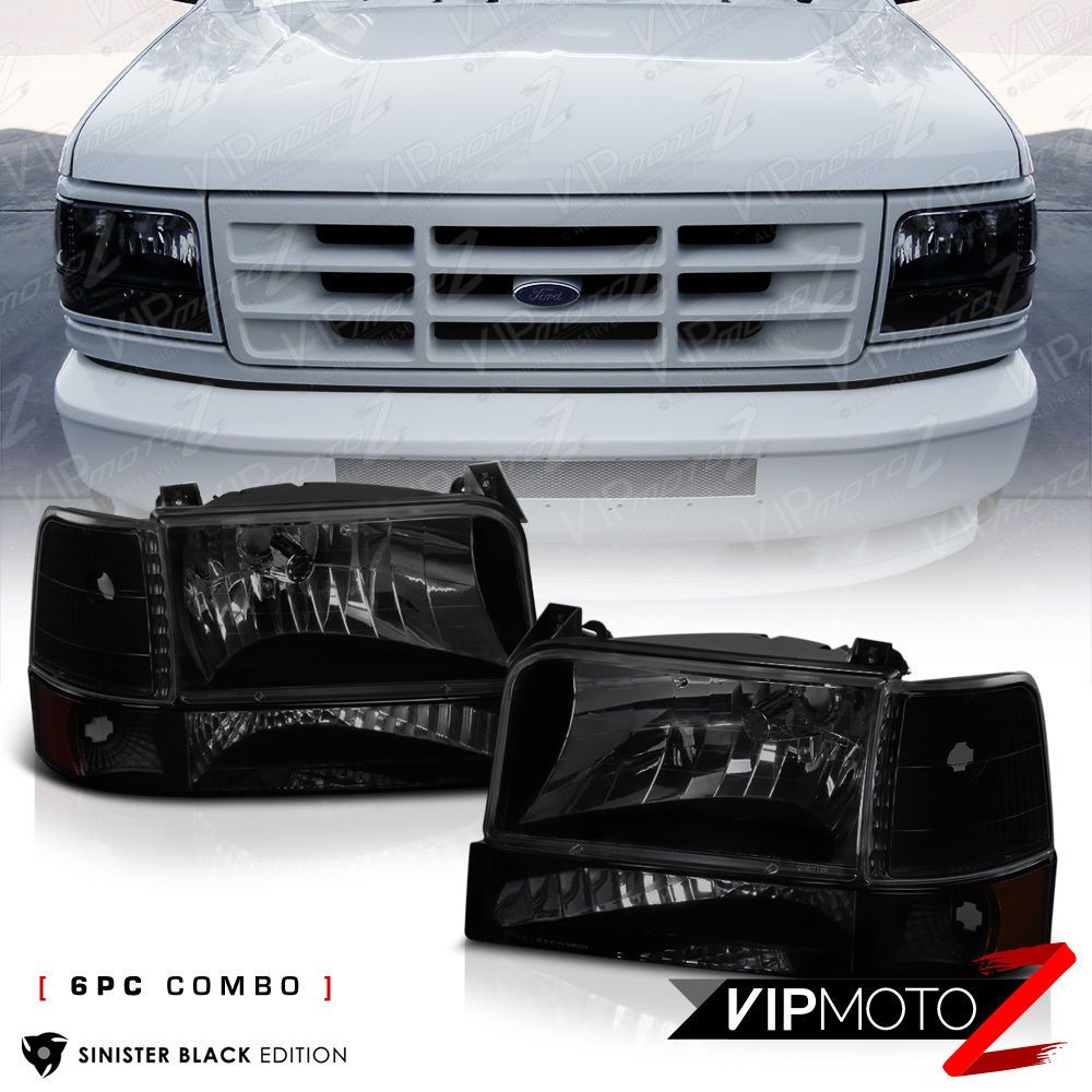 Details About Sinister Black 1992 1996 Ford F150 F250 F350 Bronco Bumper Corner Head Lights Bronco 1996 Ford F150 Classic Car Insurance