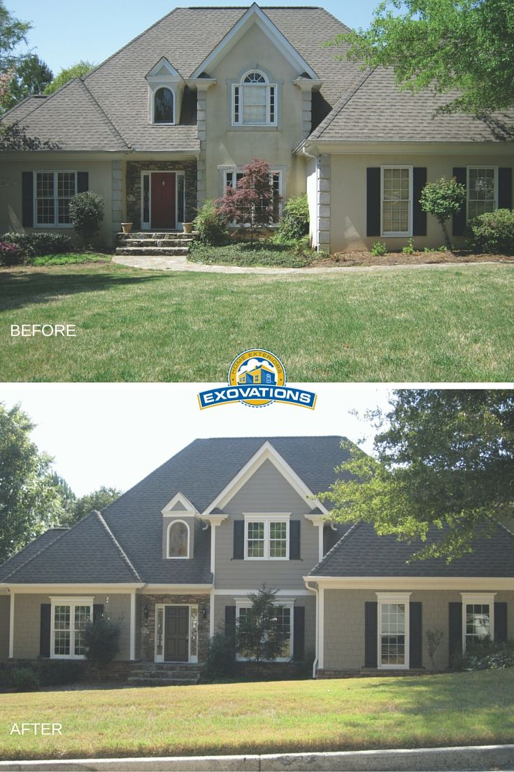 This home facelift included removing stucco and replacing for Change exterior of house