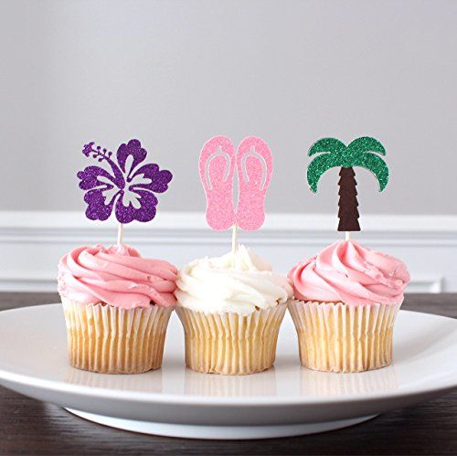 Hawaiian Luau Glitter Cupcake Toppers Hibiscus Flower Palm Tree