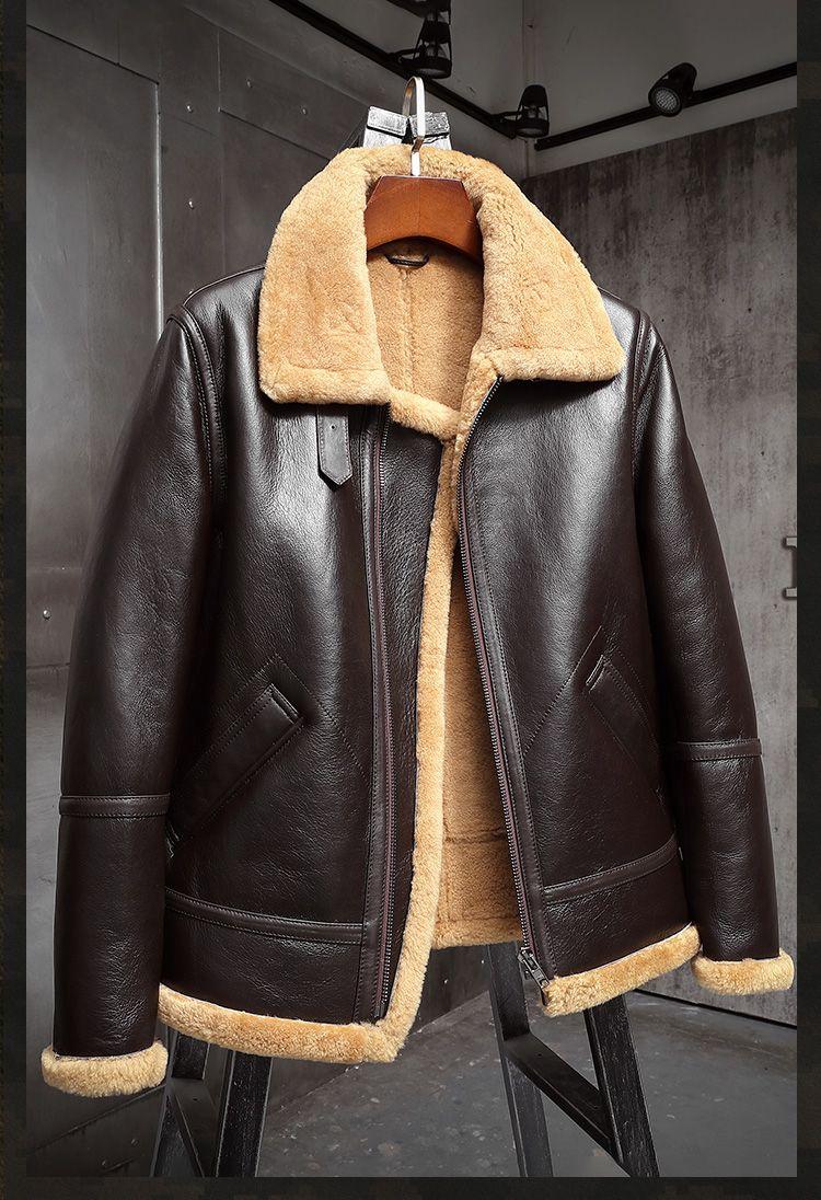 Mens Sheepskin Shearling Jacket B3 Flight Jacket Aviator Winter Coat Fur Bomber Leather Jacket Brown Mens Shearling Jacket Leather Jacket Shearling Jacket [ 1096 x 750 Pixel ]