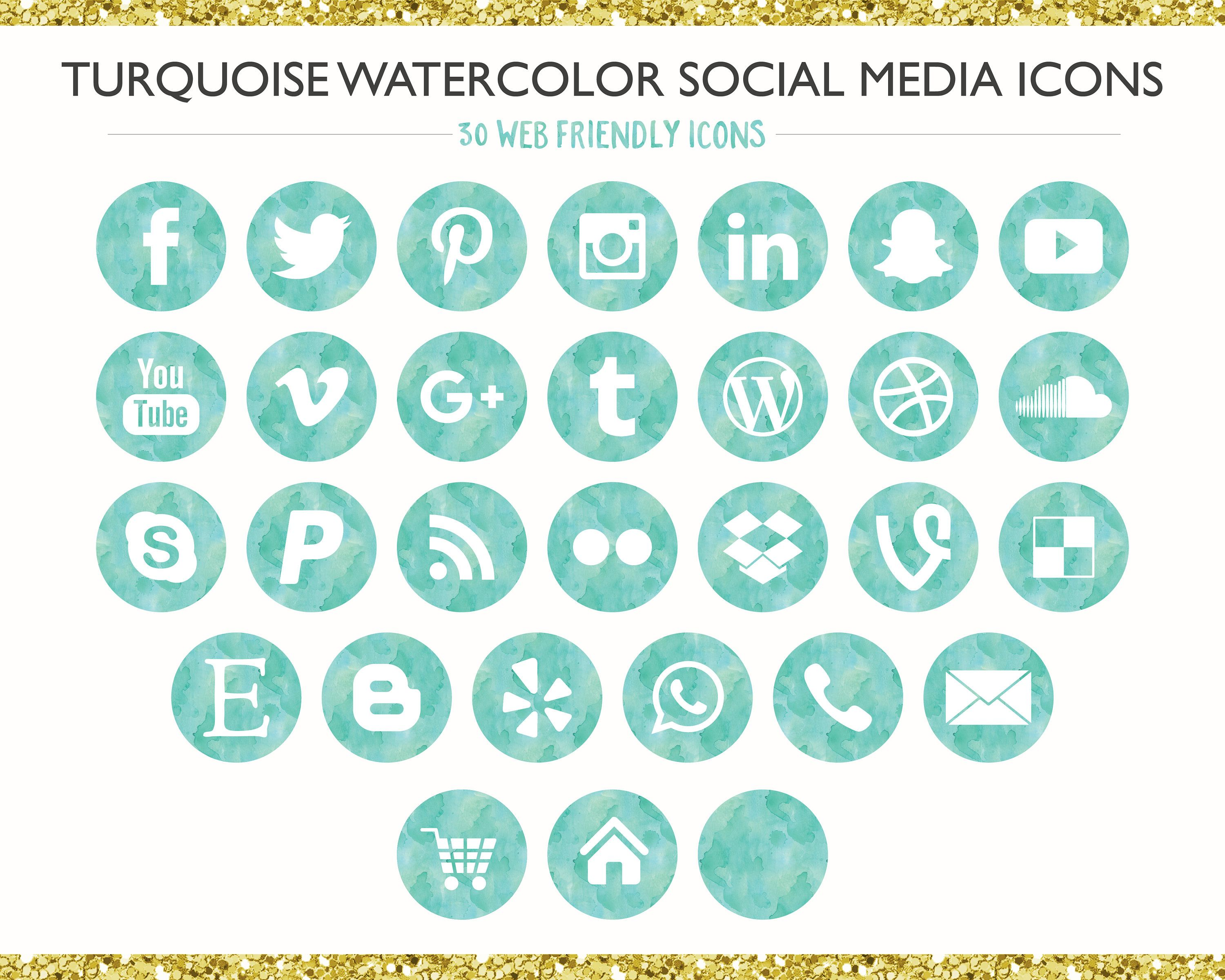 120 Turquoise, Teal Ombre Watercolor Social Media Icons