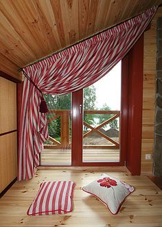 Angled Window Curtains Red Stripe Slanted Ceiling Curtains