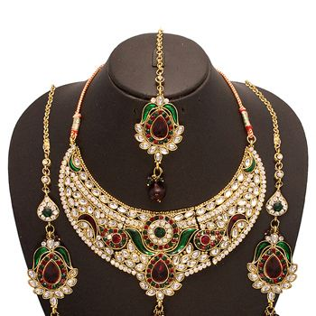 Maroon, Green and White Kundan Studded Necklace Set