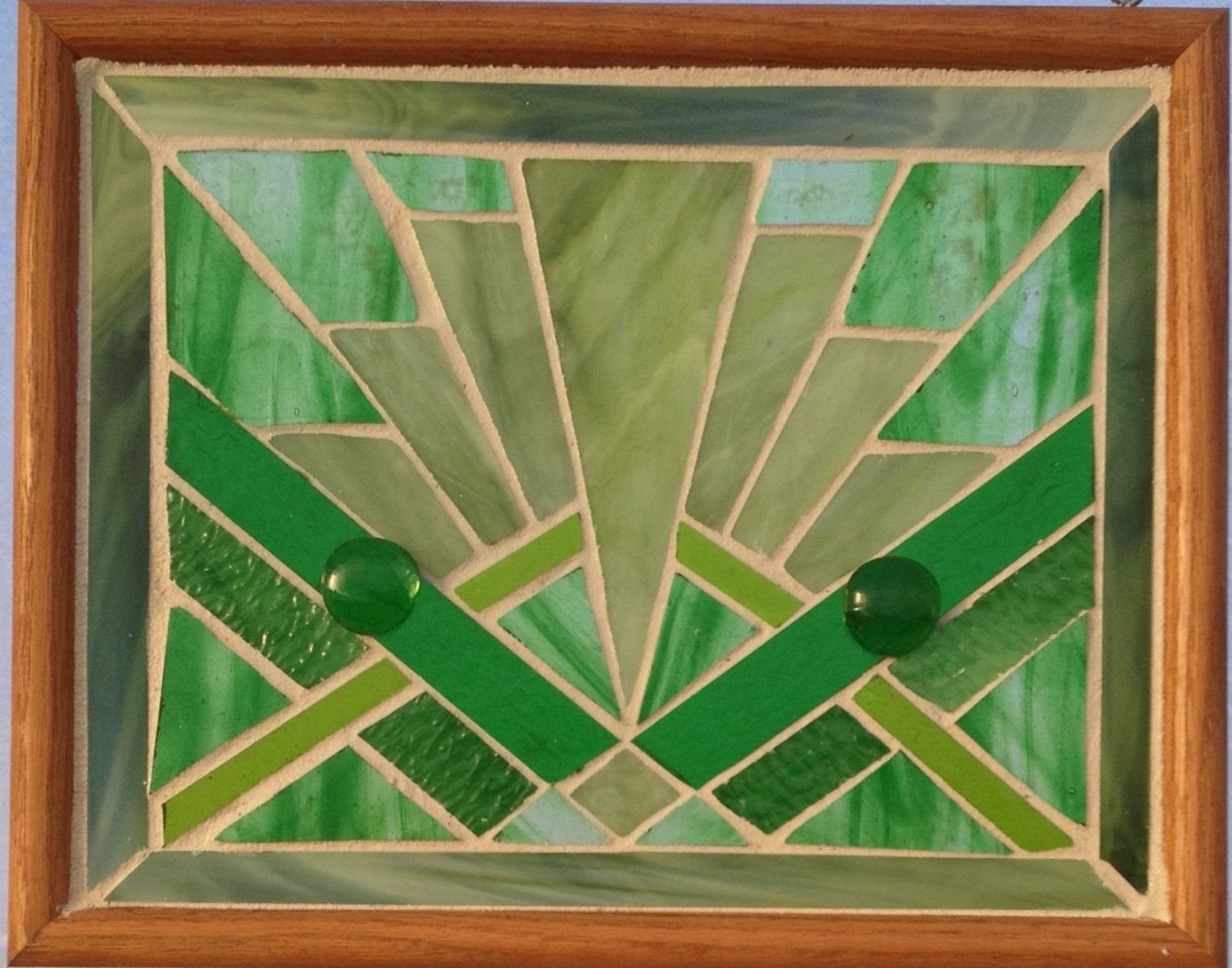 art deco green stained glass panel geometric stained glass