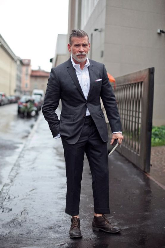 Nick Wooster Casual Suit No Tie, No Socks & Boots
