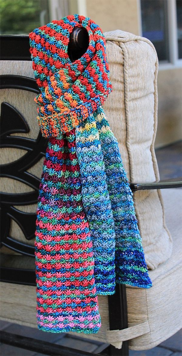 Free Knitting Pattern for 4 Row Repeat Posie Rows Scarf ...