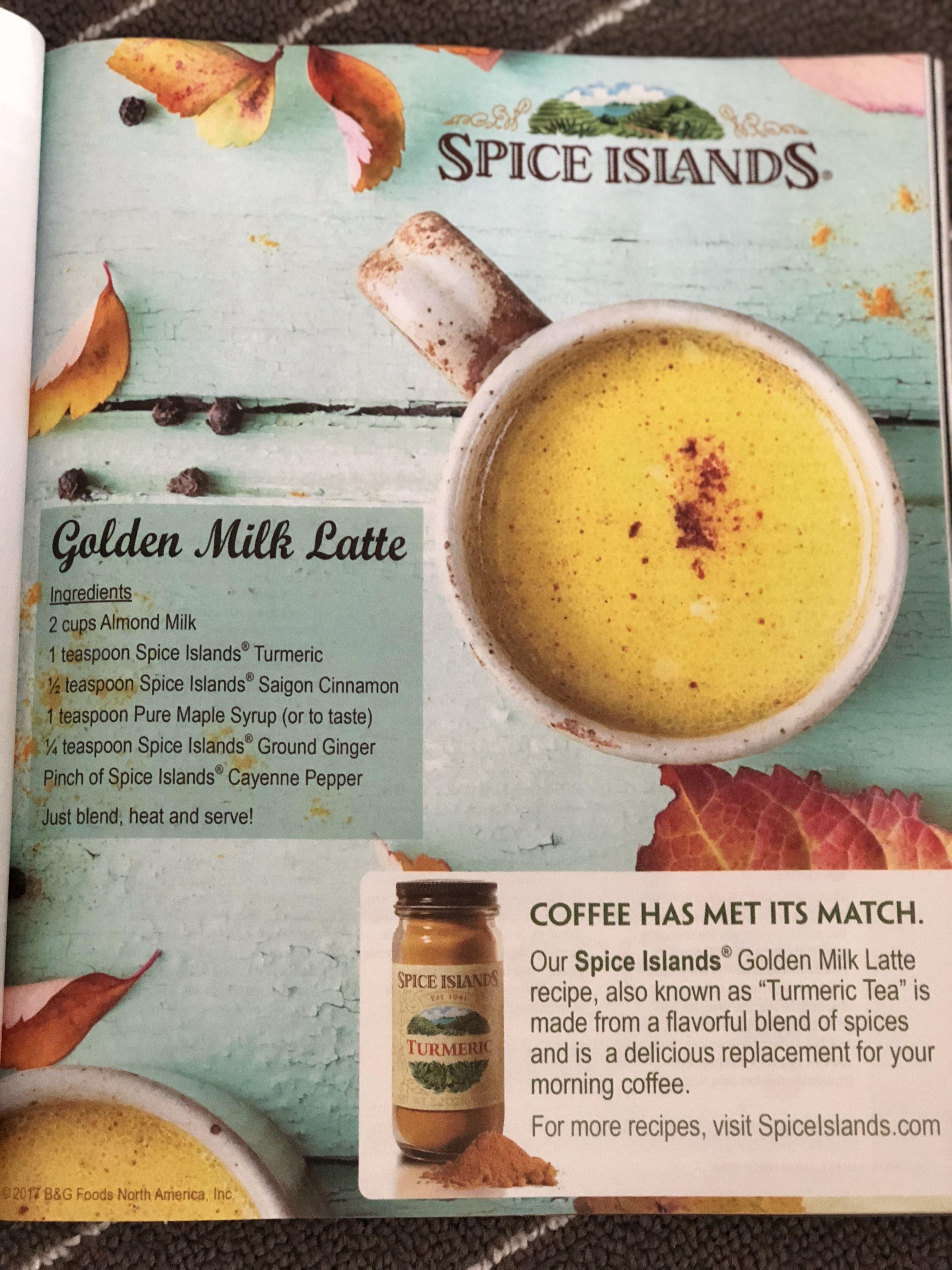 Spice Islands Golden Milk Latte Golden Milk Latte Milk Ingredients Golden Milk Recipe