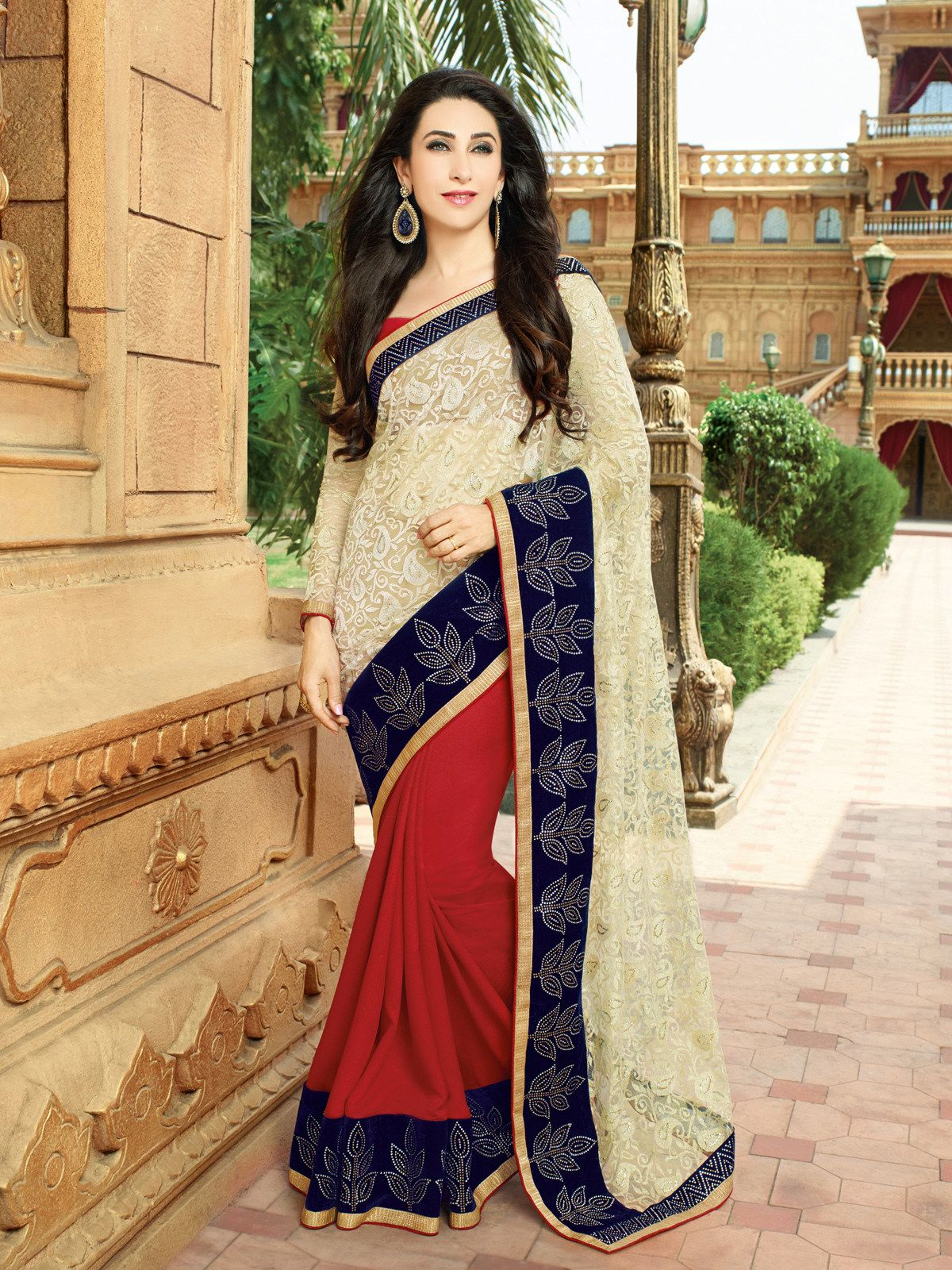 2ed6cf7c42 Buy Craftsvilla Beige And Red Color Georgette Embroidered Traditional Saree  online. ✯ 100% authentic