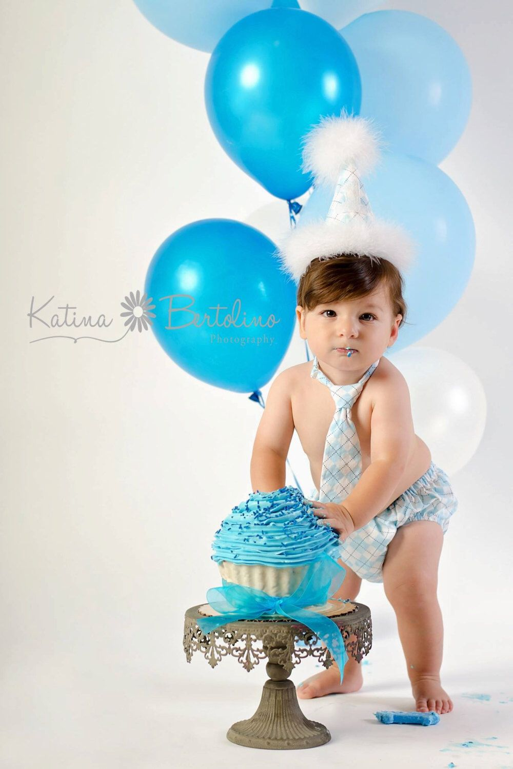 Birthday Outfit Blue Argyle Cake Smash Hat And Diaper Cover 1st Photography Prop Baby Boy By