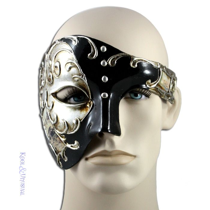 Mens Eye Mask Phantom of the Opera Venetian Minimalist Masquerade Mask Silver