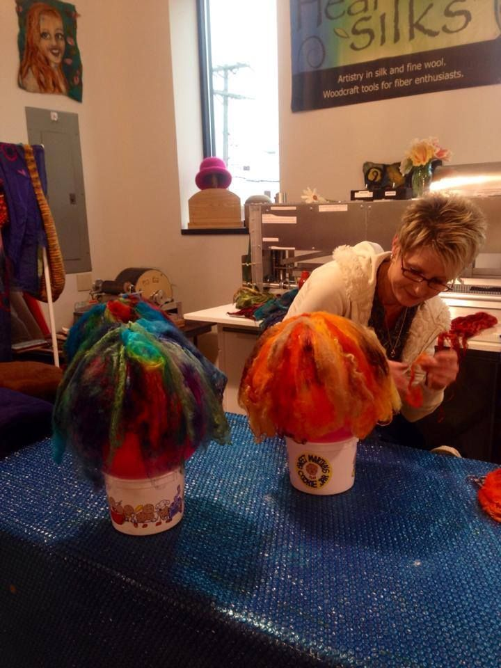 Making hats at the HeartFelt Silks Studio in Hudson, WI