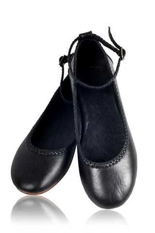 Black color leather womens flats