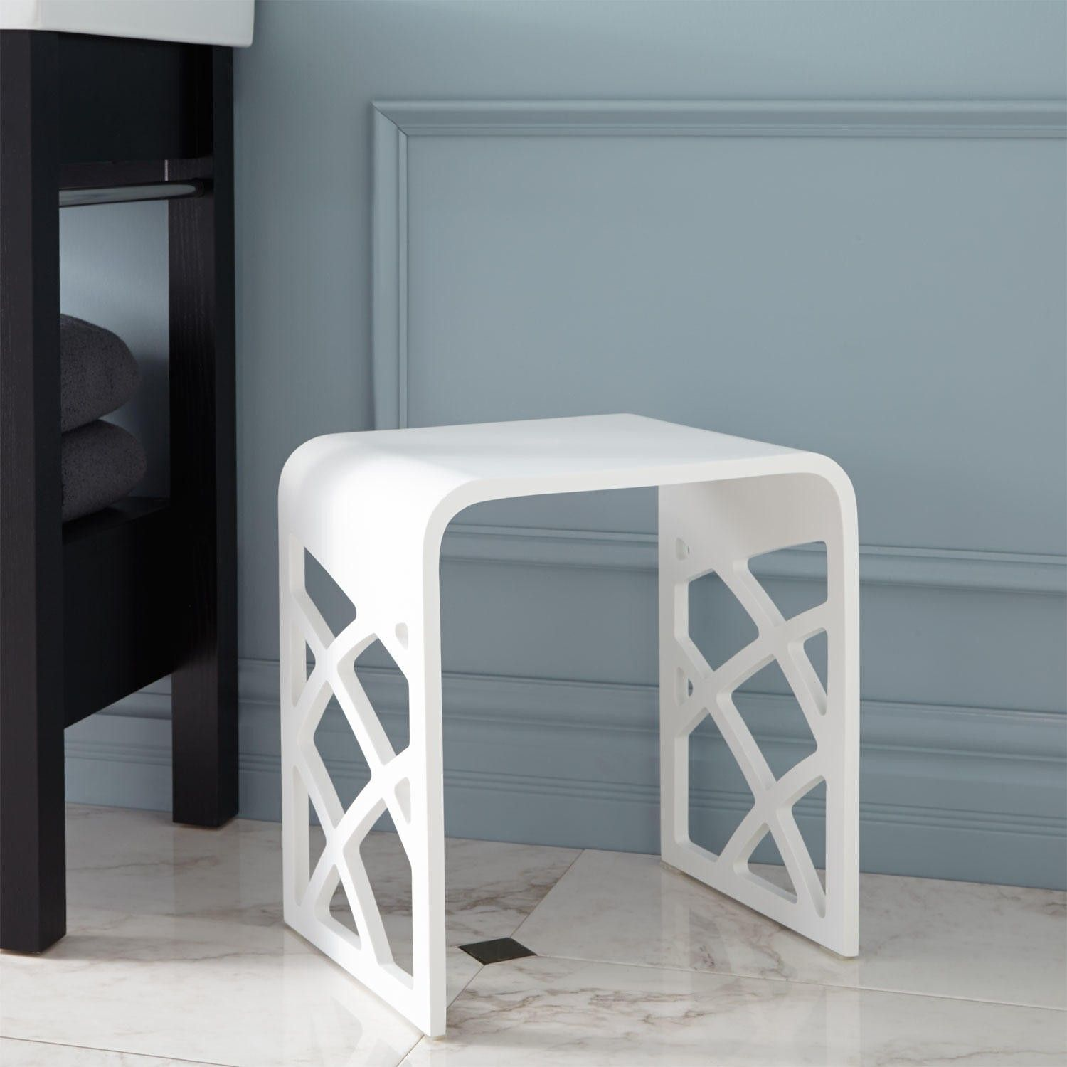 Luyten Resin Bath Stool - White Matte Finish | Bath stool, Stools ...