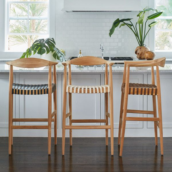 Teak and Woven Leather Bar Stool - Brown