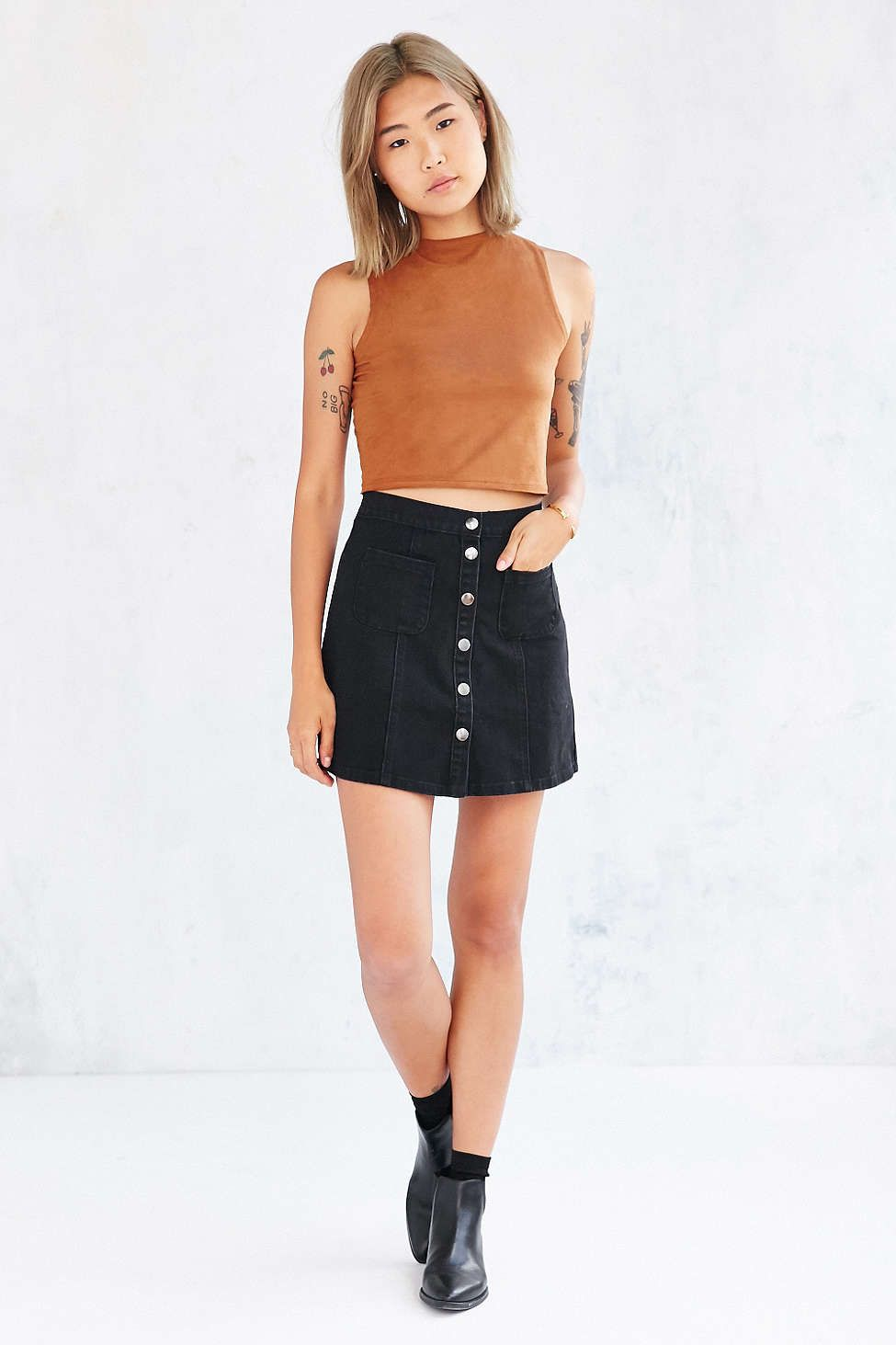 cc4132ca66 BDG Denim Button-Front Skirt - Urban Outfitters