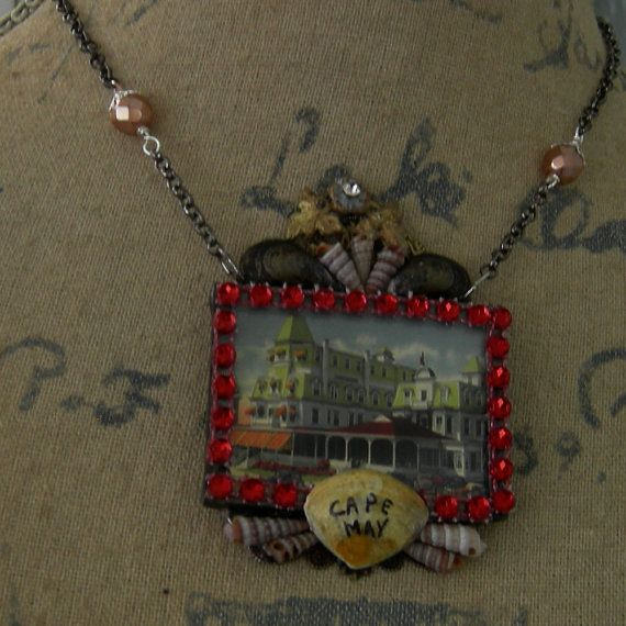 Soldered Glass Assemblage Necklace Star Villa by Vintagearts