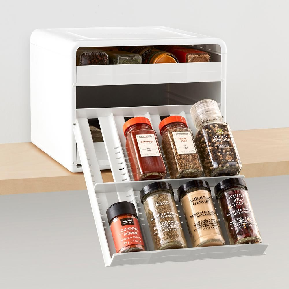 Youcopia Spicestack Adjustable 24 Bottle White Spice Organizer 50248 The Home Depot Spice Organization Youcopia Spice Bottles