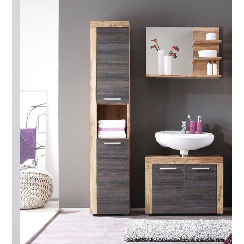 Bad Mobel Badezimmer Set Unterschrank Hochschrank Spiegel Wandspiegel Nussbaum In 2020 Badezimmer Set Badezimmer Hochschrank