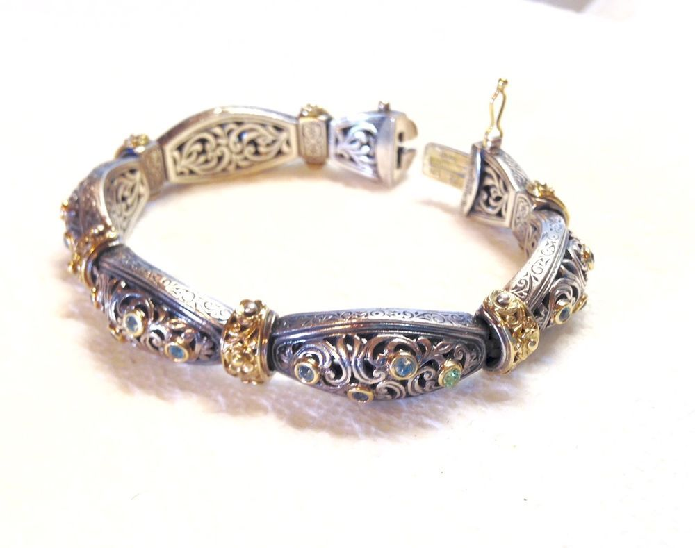 Retro konstantino openwork sterling u k gold bracelet w stones