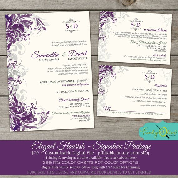 Purple Amp Gray Flourish Wedding Invitation Elegant Sophisticated DIY Printable RSVP Swirls