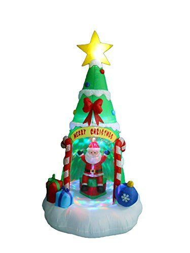 8 Foot Tall Lighted Inflatable Christmas Tree with Santa Claus Color - christmas blow up decorations