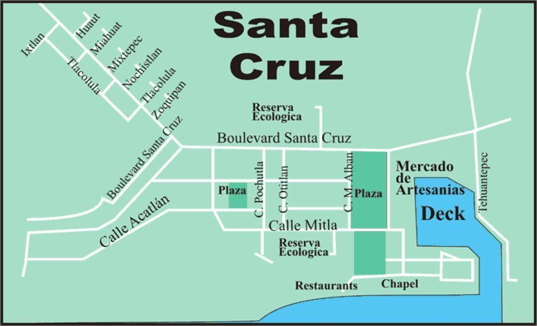 santa cruz area map Street Map Santa Cruz Huatulco Things To Do Santa Cruz Street Map santa cruz area map