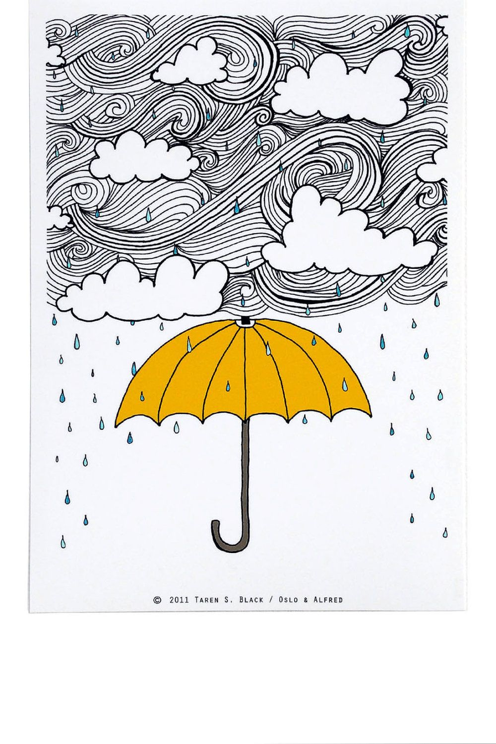 5a5608a36 The Yellow Umbrella - Illustration by: Taren S. Black. $15.00, via Etsy.