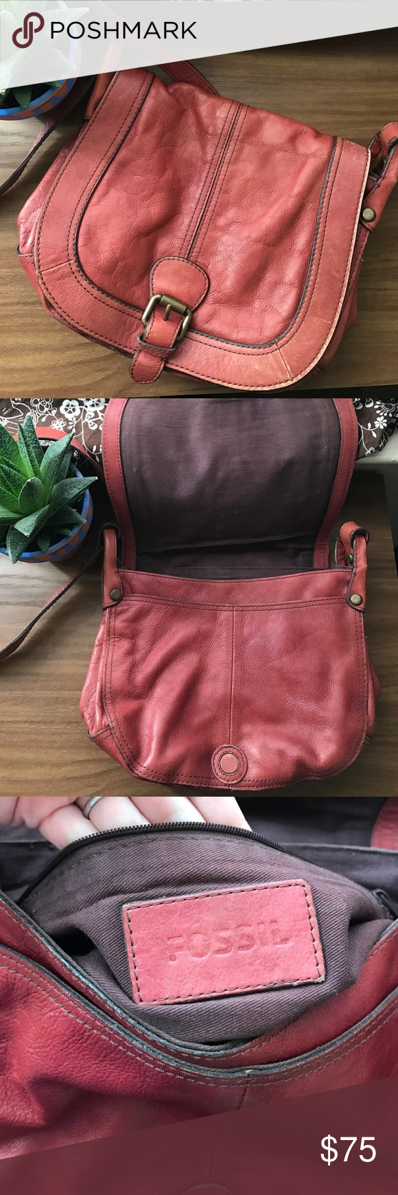 Red Leather Fossil cross body bag Soft red leather bag from Fossil used and well loved with lots of life still in it, I just don't reach for it any more. Magnetic closure with 2 large pockets and 2 small pockets 1 zippered pocket. Fossil Bags Crossbody Bags