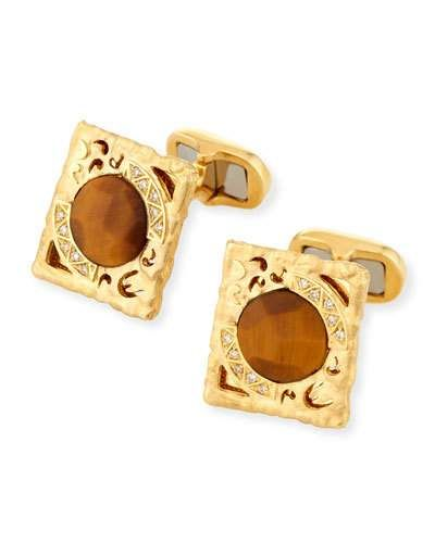 Roberto Coin Square Rock & Diamonds Cufflinks in 18K Rose Gold 76IYomgnw