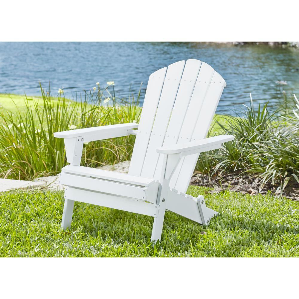 Hampton Bay Lattice Folding White Outdoor Adirondack Chair