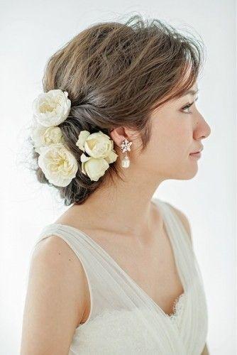 ブライダル 結婚式の髪型 お呼ばれ 花嫁アレンジヘアスタイル集
