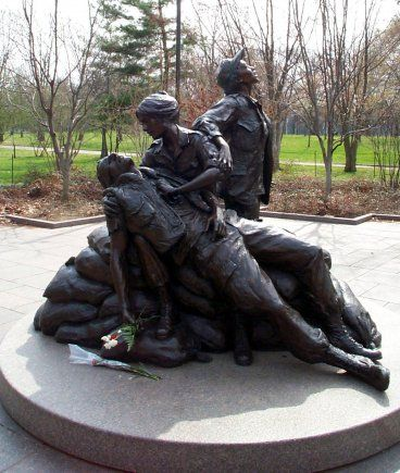 Have you seen this statue at the Vietnam Veterans Memorial (The Wall)? Gives