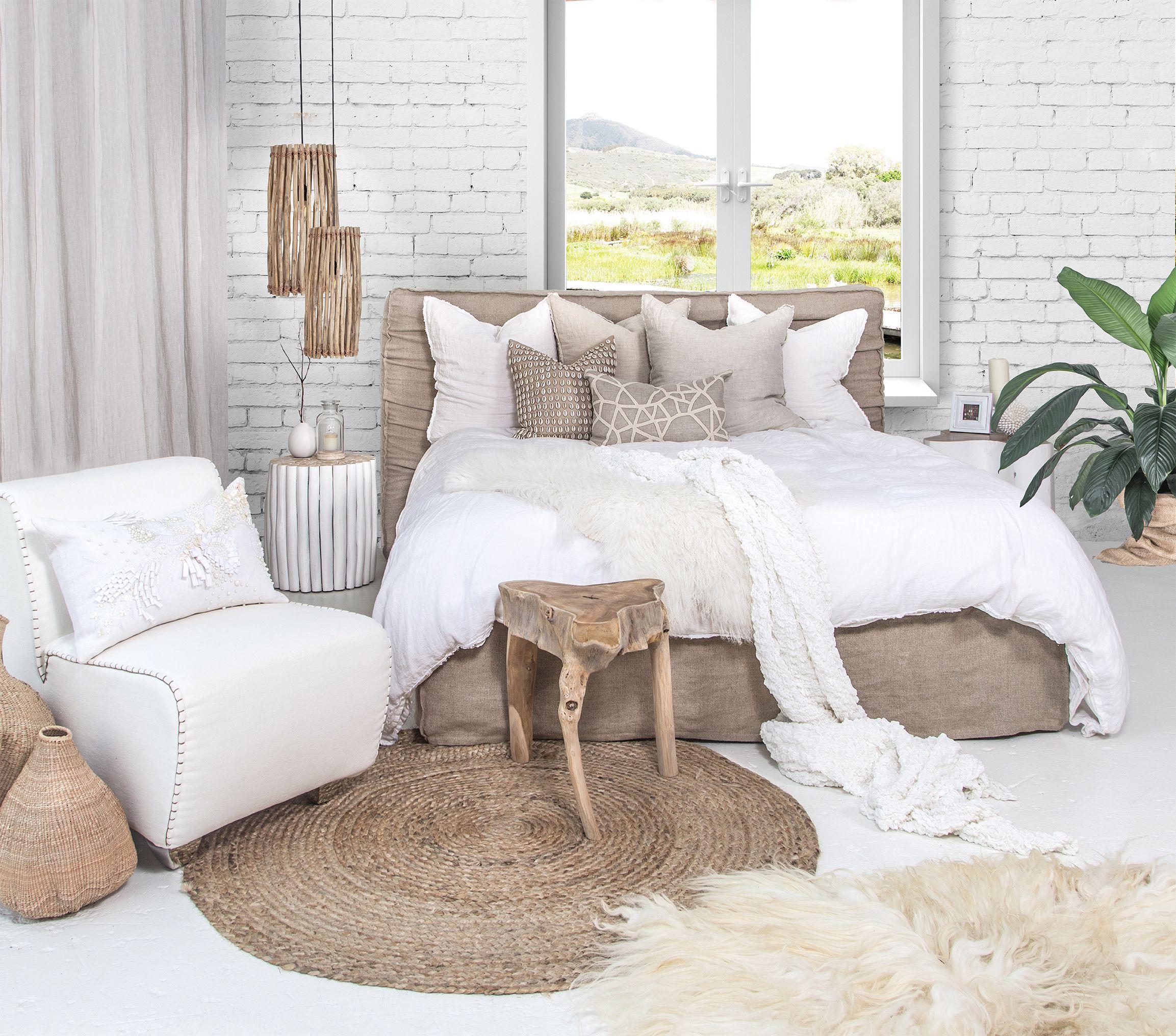 Our 100% linen slip cover Zulu Upholstered Bed, Sodwana Stool ...