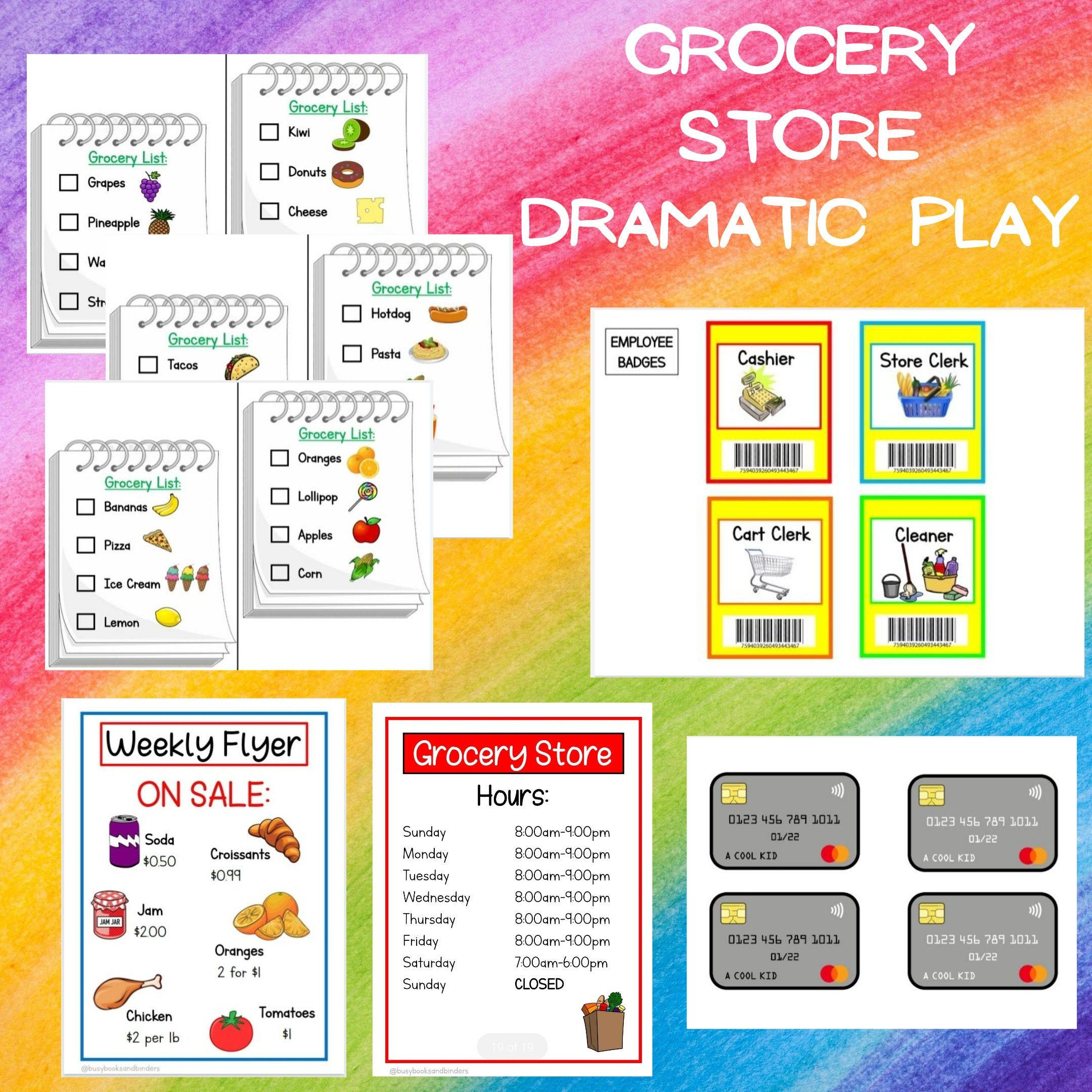 Grocery Store Dramatic Play Bundle Pretend Play Printable