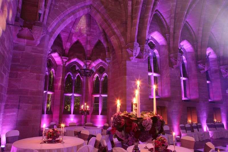 Wedding Lighting In Purple Pink The Great Hall At Peckforton Castle