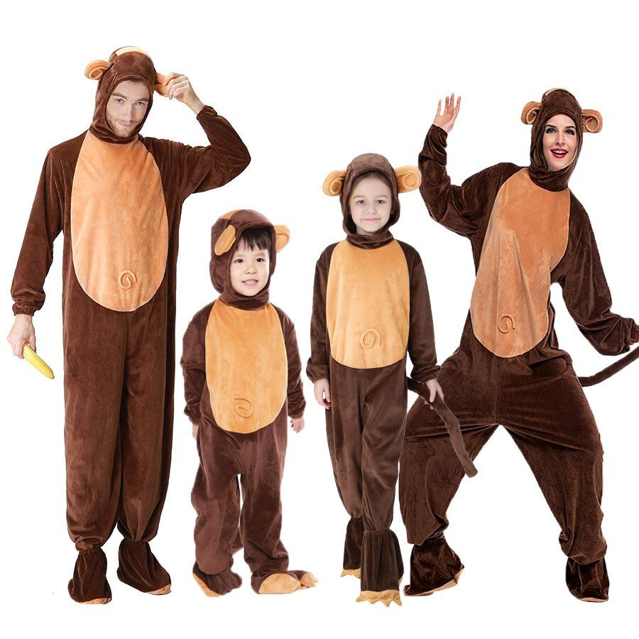 Diy Family Halloween Costumes- Animal Monkey Costume For Family Matching Chimp Cosplay Jumpsuit #mamp;mcostumediy