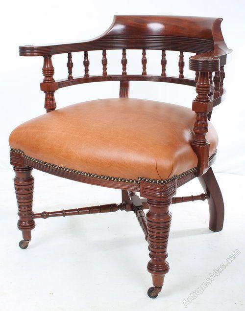 Mahogany Captains Desk Chair   Antiques Atlas