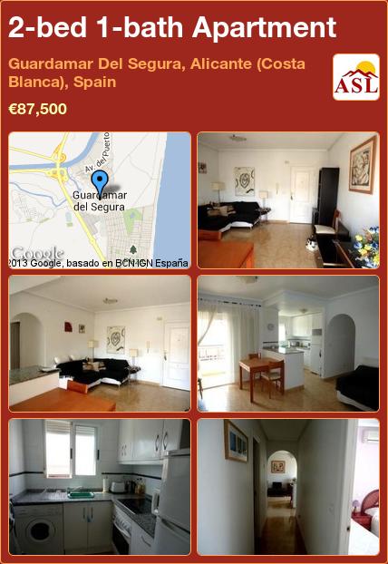 2-bed 1-bath Apartment in Guardamar Del Segura, Alicante (Costa Blanca), Spain ►€87,500 #PropertyForSaleInSpain